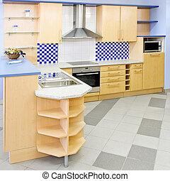 kék, konyha, derékszögben