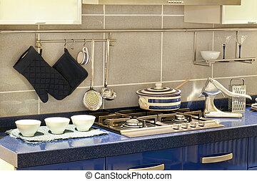 kék, konyha, részletez