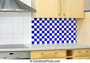 kék, konyha visszaüt