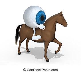 kék, ló, szemgolyó, karikatúra, felül, őt