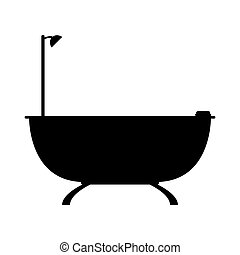 kék, lakás, fürdőszoba, illustration., fürdőkád, háttér., vektor, ikon
