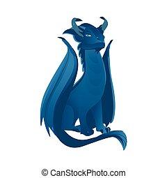 kék, lakás, kasfogó, színezett, sárkány, vektor, csápok