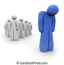 kék, lehangolt, -, egy személy, érzés