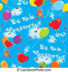 kék, lenni, szeret, színes, teddy tart, motívum, ég, seamless, clouds., szövegek, kedves, háttér, léggömb, ön, az enyém