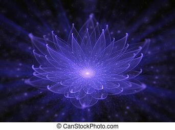 kék, liliom, küllők, lótusz, fény, sugárzó, víz