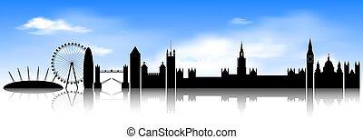kék, london, láthatár, ég, háttér