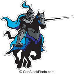 kék, lovag, ló, kabala, jousting