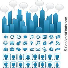 kék, média, társadalmi, város