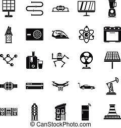 kék, mód, elektromos, ikonok, állhatatos, egyszerű
