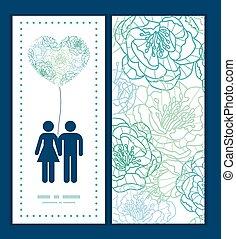 kék, művészet, motívum, párosít, köszönés, körvonal, vektor, sablon, meghívás, szeret megtölt, menstruáció, keret, kártya