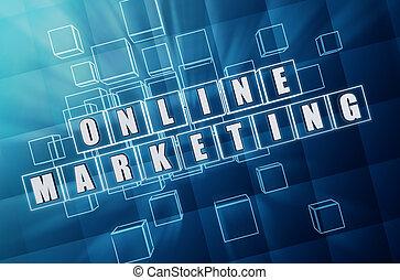 kék, marketing, eltöm, pohár, online