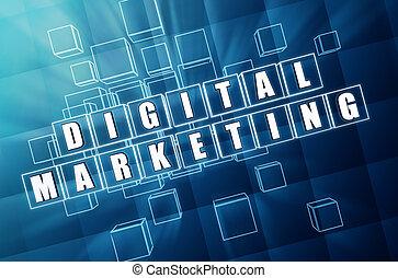 kék, marketing, kikövez, pohár, digitális
