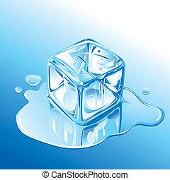 kék, megható, köb, jég