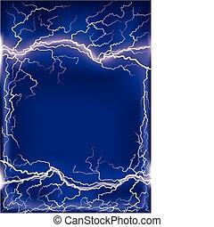 kék, .mesh, keret, villámlás, sötét háttér, ütés