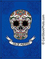 kék, mexikói, elektromos, poszter, ellen-, köszönés, motívum, cukor, dia, vektor, tervezés, ábra, háttér, koponya, virágos, elem, muertos, kártya