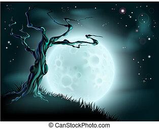 kék, mindenszentek napjának előestéje, fa, háttér, hold