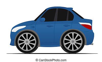 kék, mini, sport, autó