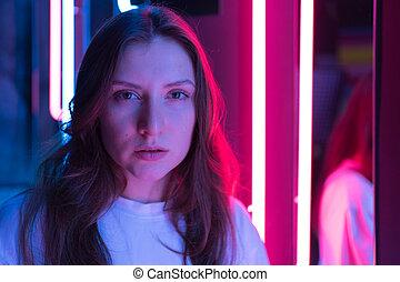 kék, model's, fény, piros, mód, neon., gyönyörű woman, arc, fiatal, portré