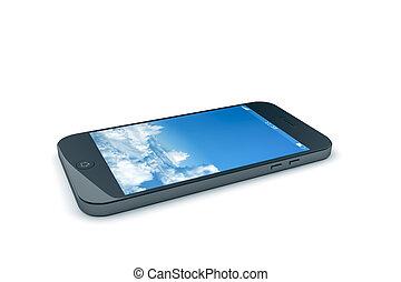 kék, mozgatható, ég, telefon