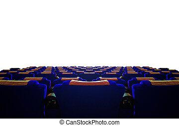 kék, mozi, előszoba, ülés