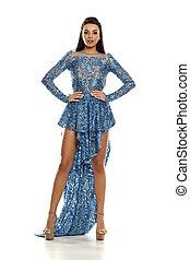 kék, nő, estélyi ruha