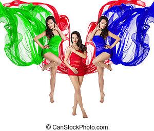 kék, nő, táncol, repülés, három, zöld, ruha, piros