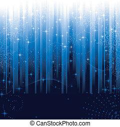 kék, nagy, hópihe, ünnepies, motívum, themes., vagy, háttér., csillaggal díszít, csíkos, karácsony, tél