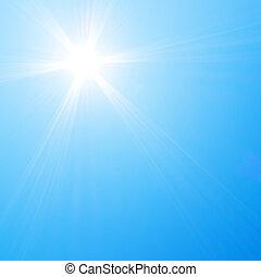 kék, nap, ég, csillogó