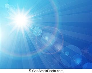 kék, nap, ég