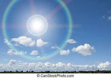kék, nap, ég, fénysugár
