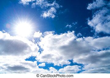 kék, nap, ég, háttér, csillogó