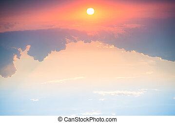 kék, nap, drámai ég, napnyugta