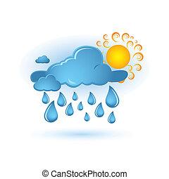 kék, nap, felhő