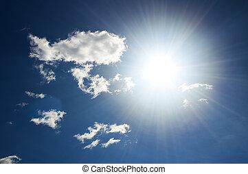 kék, nap, tiszta égbolt, csillogó