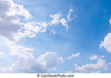 kék, nap, tiszta égbolt, felhős, háttér, légnyomás, fénysugár