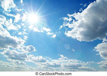 kék, nap, tiszta égbolt