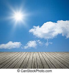 kék, nap, világos ég, háttér