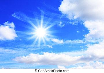 kék, nap, világos ég