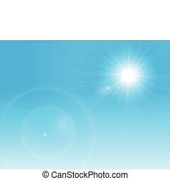 kék, nap, világos, vektor, ég