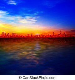 kék, napkelte, árnykép, város, arany, elvont, háttér, ég