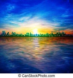 kék, napkelte, árnykép, város, eredet, elvont, háttér, ég