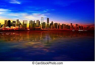 kék, napkelte, vancouver, arany, elvont, háttér, panoráma, ég