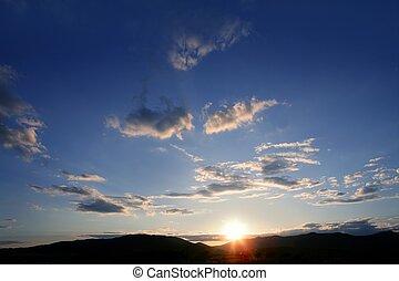 kék, naplemente ég, piros háttér