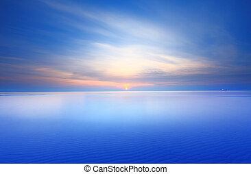 kék, naplemente ég, tenger