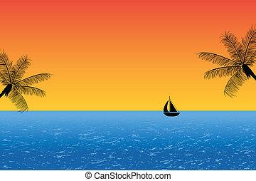 kék, naplemente óceán
