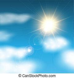 kék, napos, ég