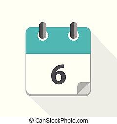 kék, naptár, 6, ügy, ikon