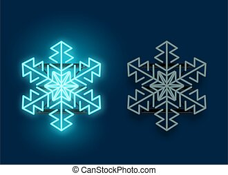 kék, neon láng, hópehely, izzó