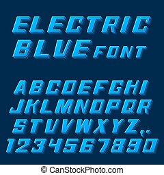 kék, numbers., betűtípus, irodalomtudomány, elektromos