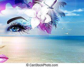 kék, nyár, nő, ég, kollázs, elvont, napfény, arc, tengerpart., tenger